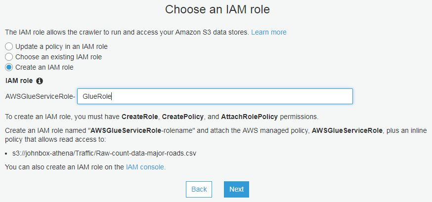AWS Glue Choose IAM Role