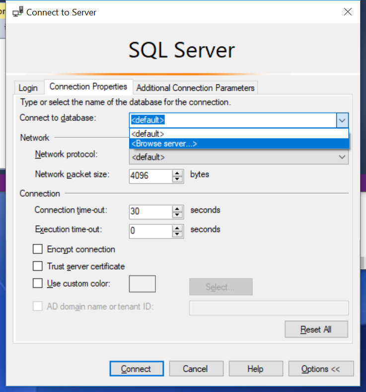 Connect To Server SSMS